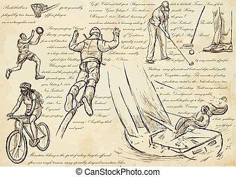 deporte, mezcla, -, un, mano, dibujado, vector, ilustraciones, arte de línea