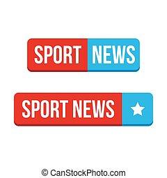 deporte, noticias, botón, vector