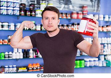 deporte, nutrición, sportman, músculos, se manifestar, ...