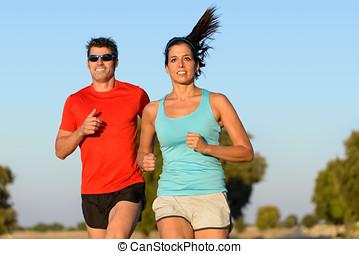 deporte, pareja, corriente