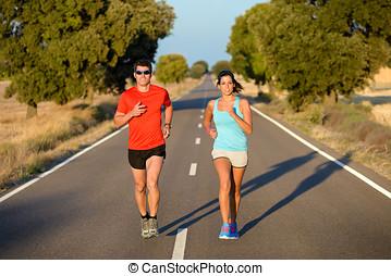 deporte, pareja, corriente, en, camino