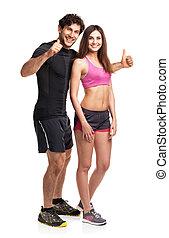 deporte, pareja, -, hombre y mujer, después, ejercicio salud, en, el, blanco