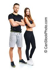 deporte, pareja, -, hombre y mujer, después, ejercicio salud
