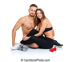 deporte, pareja, -, hombre y mujer, después, ejercicio salud, sentado, con