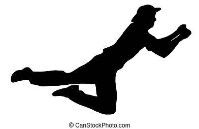 deporte pelota, fielder, -, gracioso, grillo, silueta