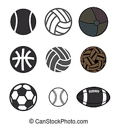 deporte, pelota, iconos