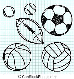 deporte, pelota, mano, empate, en, gráfico, paper.
