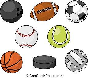 deporte, pelotas, aislado, vector, iconos