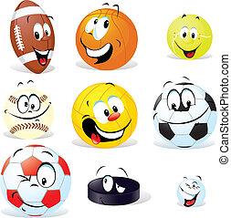 deporte, pelotas, caricatura