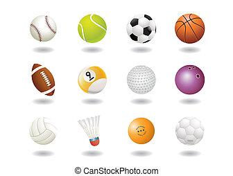 deporte, pelotas, icono
