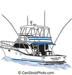 deporte, pesca, barco, costa afuera