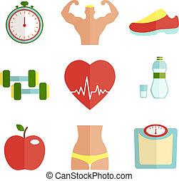 deporte, plano, conjunto, salud, iconos
