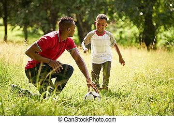 deporte, práctica, con, padre, enseñanza, hijo, cómo, al juego, futbol