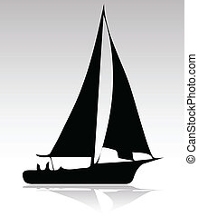 deporte, silueta, versión, barco