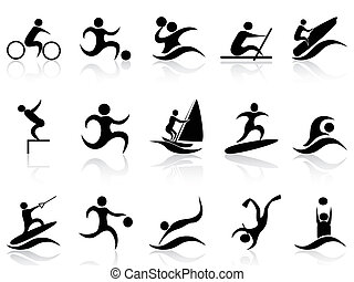 deporte verano, iconos, conjunto