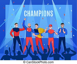 deporte, victoria, cyber, composición
