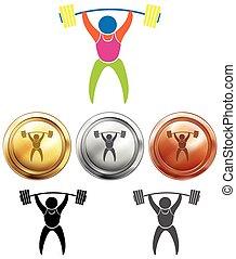 deporte, weightlifting, medallas, icono