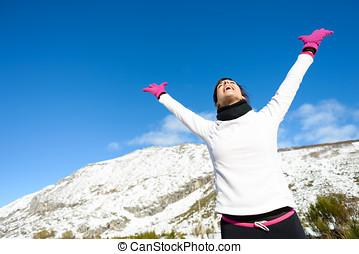 deporte, y, ejercitar, invierno, éxito