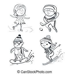 deportes, bosquejo, vector, invierno, deportistas