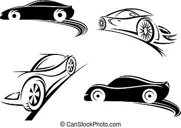 deportes, coche de carreras, negro, siluetas