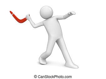 deportes, colección, -, bumerang, lanzamiento
