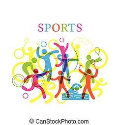deportes, colorido, ilustración