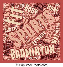 deportes, condición física, diversión, manera, a, ser, sano, texto, plano de fondo, wordcloud, concepto