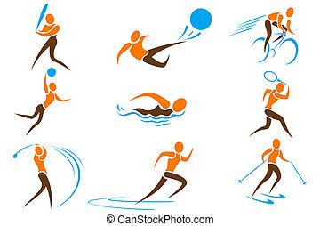 deportes, conjunto, icono