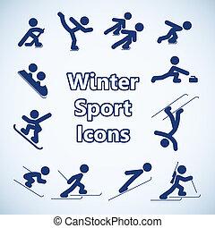 deportes, conjunto, invierno, iconos