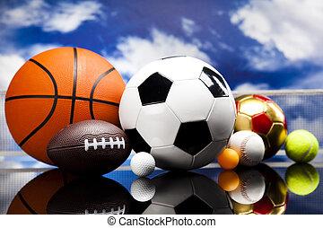 deportes, cuatro, pelotas, terreno