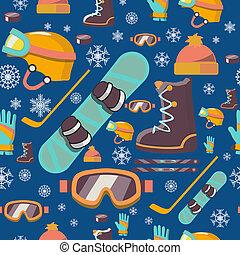 deportes del invierno, seamless, patrón, icons.