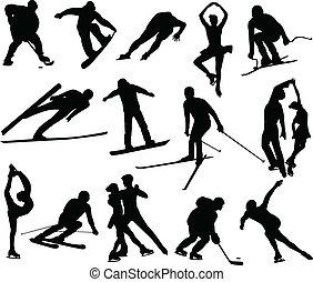 deportes del invierno, siluetas