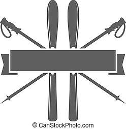 deportes, emblem., icono, esquí, insignia., vector, design...