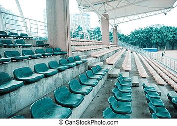 deportes, estadio, vacío, asientos