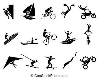 deportes extremos, icono, conjunto