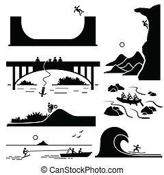 deportes extremos, pictogram, conjunto, 3