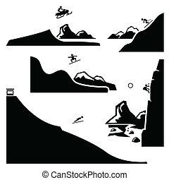 deportes extremos, pictogram, conjunto, 4