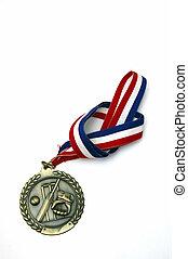 deportes, medalla, con, un, nudo