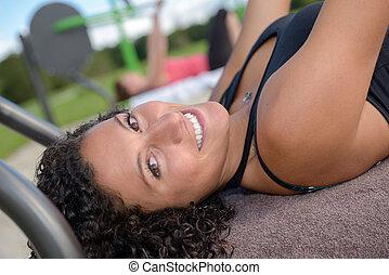 deportes, niña, en el parque, amaestrado, vario, ejercicios
