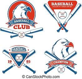 deportes, niños, vector, beisball, retro, insignias, ropa de...