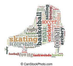deportes, palabra, nube