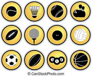deportes, pelotas, botones