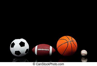 deportes, pelotas, en, un, fondo negro
