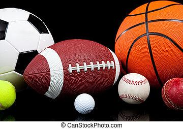 deportes, pelotas, fondo negro, variado