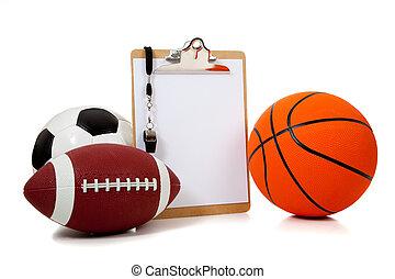 deportes, pelotas, portapapeles, variado