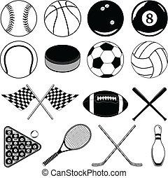 deportes, pelotas, y, otro, artículos