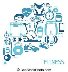 deportes, plano de fondo, con, condición física, iconos, en,...