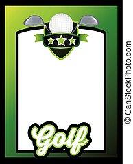 deportes, plantilla, cartel, o, folleto, plano de fondo, golf