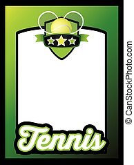 deportes, plantilla, cartel, o, folleto, plano de fondo, tenis