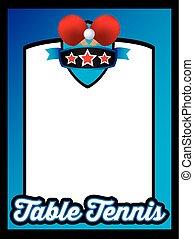 deportes, plantilla, cartel, o, folleto, plano de fondo, tenis de mesa